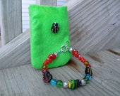 lampwork Beads Children's Bracelet, Bee, Red Snakes and Ladybugs