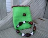 Children's Bracelet Red Beads, White Ladybugs