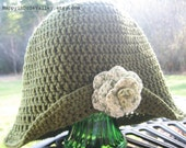 Chelatchie Crocheted Cloche w/ Removable Flower Brooch (made to order in size & color of your choice)