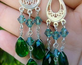 Beautiful Green Chandelier Swarovski Earrings
