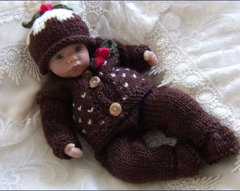 "Dolls Knitting Pattern - Download PDF Christmas Pattern for 10"" Reborn Doll Instant Download PDF Knitting Pattern Xmas Set"