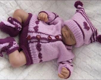 Baby Knitting Pattern - Baby Girl PDF Knitting Pattern - Download PDF Pattern - Girls Sweater Set - Baby Girls or Reborn Dolls