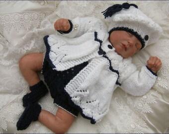 Baby Knitting Pattern - Girls Download PDF Knitting Pattern - Homecoming Outfit - Matinee Set - Sweater Set - Precious Newborn Knits