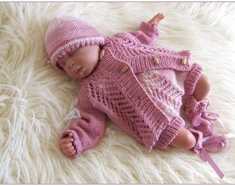 Baby Knitting Pattern - Download PDF Knitting Pattern - Baby Girl or Reborn Dolls Sweater Set -  0-3 Months