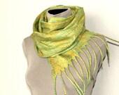 Felted Olive green wool woman scarf / wrap / cobweb/ evening shawl / Fall fashion / autumn