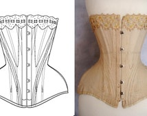 REF Y pattern drafted from antique early XXe century S curve Edwardian corset, 18 inches small waist size