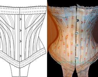 "REF J paper pattern for 18.50 inches ""JB.311"" corset hand drafted from antique collection"