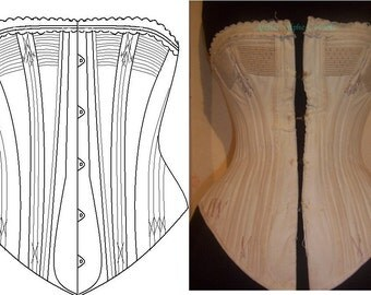 REF P corset pattern from antique corded bust corset spoon busk style 24 inches waist size