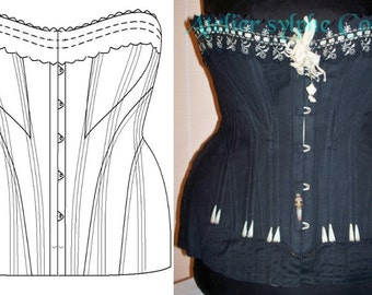 Ref E  Antique corset paper pattern and pictures for 29 inches waist size