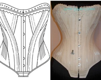Ref 1 Early 1900 corset pattern drafted from private antique corset 22.44 inches waist size
