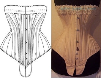 REF S paper pattern and pictures for hourglass Antique gusset corset 23.60 inches waist size