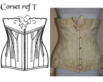 "REF T corset pattern drafted from antique edwardian ""Au bon Marché/Paris"" closed waist size 29.20 inches (M)"