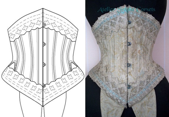 REF F Corset pattern for short waist cincher 21.25 inches waist size from antique collection