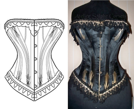 REF G Black satin 5x2 gussets pattern style hand drafted from antique 26 inches waist size antique corset