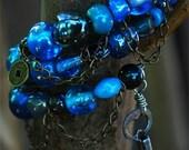 Steampunk inspired memory-wire bracelet