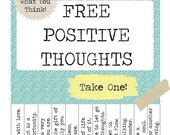 Printable FREE Positive Thoughts Poster - PDF - Instant Download
