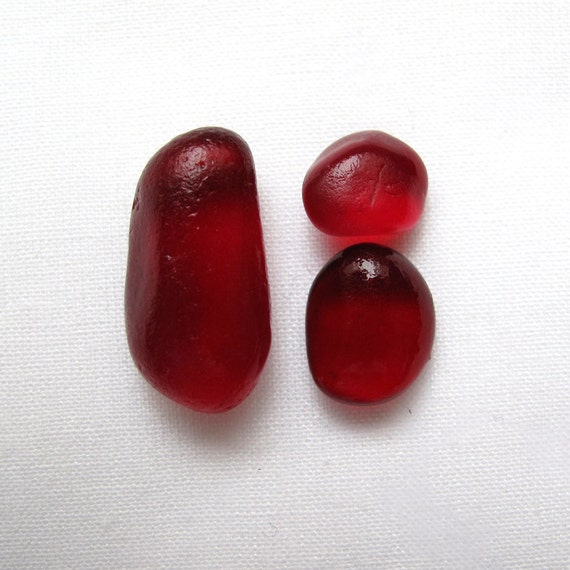 Deep Rich Ruby Red  sea glass - lot DC 057