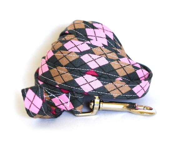 Dog Leash - Pink and Grey Argyle - 6 ft long