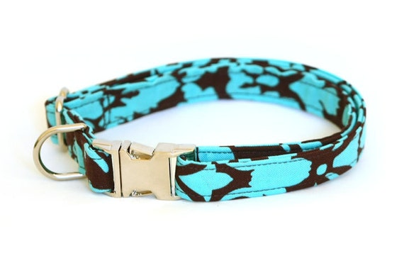 Dog Collar -  Turquoise and Brown Floral Damask  - Medium with METAL Clip