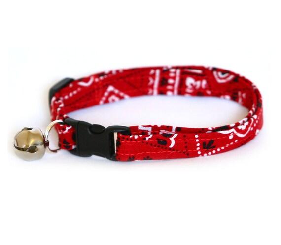 Cat Collar - Red Bandana Paisley - Large Cat Collar