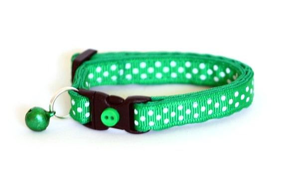 Polka Dot Cat Collar - Kelly Green - Small Cat / Kitten Size