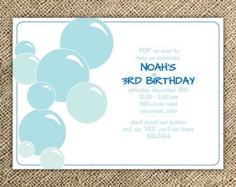 Bubbles Birthday Party Invitation