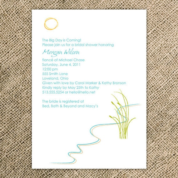 Beach Bridal Shower Invitation/Destination Wedding Invitation - Simple
