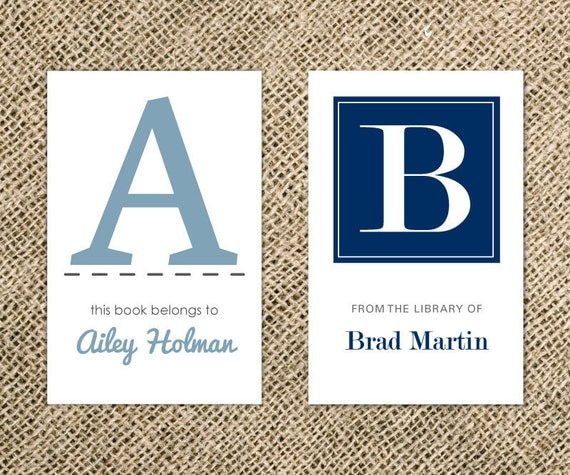 Bookplates - Modern Large Initial Personalized Name Plates