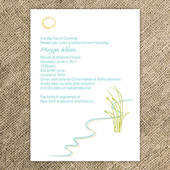 Beach Bridal Shower Invitation/Destination Wedding Invitation   Simple