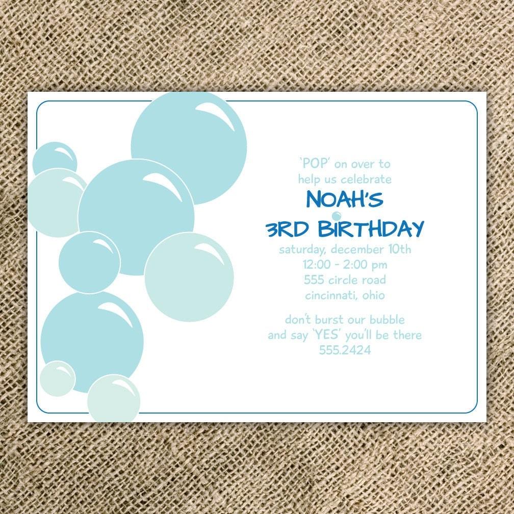 Bubbles Birthday Party Invitations Wording