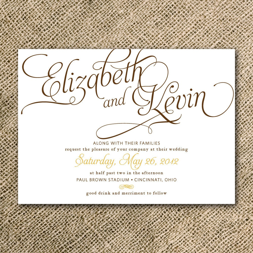 Calligraphy Wedding Invitation Suite Printable Rustic