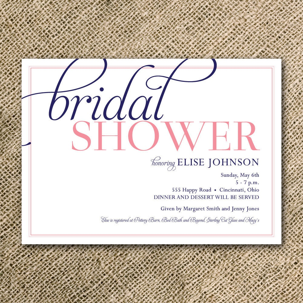 Display Bridal Shower Invitation Wording – Sample of Bridal Shower Invitation