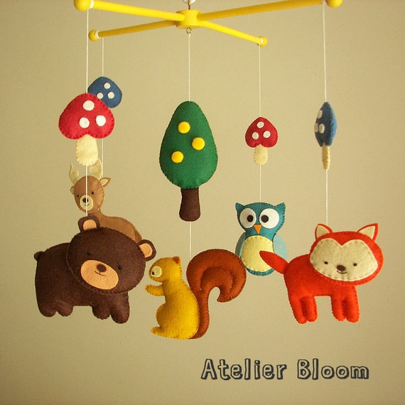 Items similar to baby crib mobile forest mobile animal for Woodland animals nursery mobile