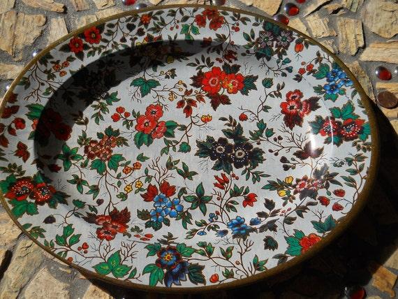 Vintage Nevco flowered tin tray