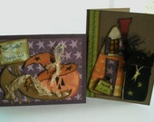 Halloween Card Witch's Hat and Black Cat Set of 2, Cards by kimberleeannkreation on Etsy
