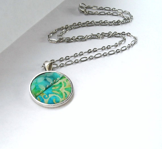 Aqua Blue Fabric Necklace Quilt Turquoise Antique Silver Jewelry Summer