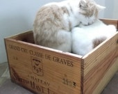 SALE Authentic French Wine Crate Cat / Dog Bed