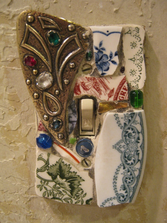 Mosaic Single Switch Plate Switchplate in Red Blue and Green with Vintage Brooch mosaic art