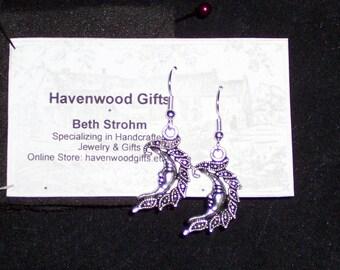 silver moon wire earrings no s/h