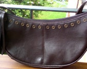 Brown Handbag Purse with Vintage 70s Crescent Shape with Button and Fringe Design