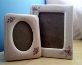 Large Cream and Small Pink Photo Frames Crackle Porcelain Style Square and Oval Shape (Set of 2)