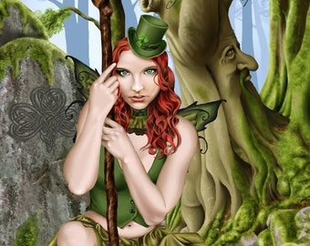 The Green Faerie Celtic Irish Leprechaun Forest Tree Ent - Limited Edition Signed & Numbered Print