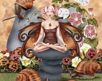 Snail Fairy Muse Yoga Pose - Fantasy Fine Art Print
