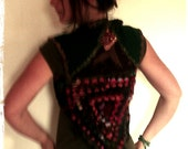 Green, grey and psychedelic coloured madness. Crochet vest with application in back. o0o RESERVED FOR SABRINA