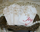 Vintage Christmas Tags, Set of 10 Vintage Joy Tags, FREE Shipping, made by handmadewithlove13