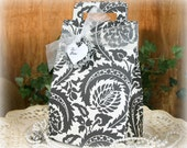 Black and White Damask Wedding Gift Box - FREE Shipping Large Birthday, Party Favor Gift Bag Wrap or Gift Box, handmadewithlove13