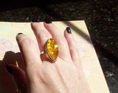 Vintage  Sterling Silver Honey Amber Ring