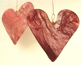 Silk Heart Hanging Decoration in ruby red Mother's Day gift anniversary engagement