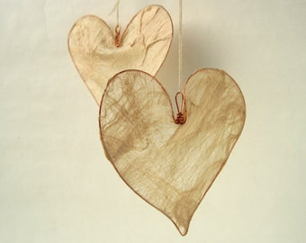 Natural silk heart hanging decoration, Mother's Day gift, wedding decor