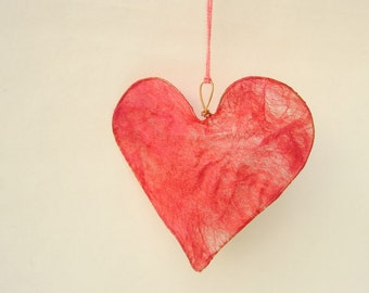 Heart Decoration in Coral Pink Soy Silk Fusion, home decor, wedding decor